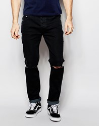 D Struct Distressed Skinny Jeans Black