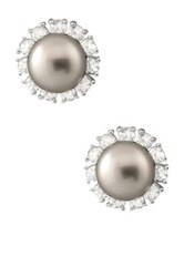 Gray 7.5 8Mm Freshwater Pearl And Cz Halo Earrings