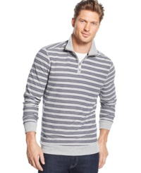 Club Room Big And Tall Striped Pique Quarter Zip Pullover Only At Macy's
