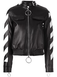 Off White Contrast Zip Up Jacket Black