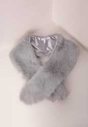 Missguided Faux Fur Stole Scarf Blue