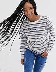 Daisy Street Long Sleeve T Shirt In Retro Stripe With San Francisco Embroidery Multi