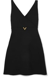 Valentino Embellished Stretch Wool Blend Mini Dress Black