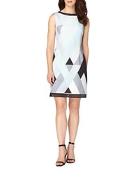 Tahari By Arthur S. Levine Plus Geo Print Sheath Dress Mint Sky Black