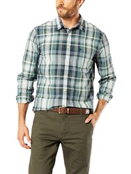 Dockers Poplin Check Laundered Slim Fit Shirt Green Dark Blue Plaid