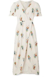 Madewell Magdalena Wrap Effect Floral Print Voile Maxi Dress Cream