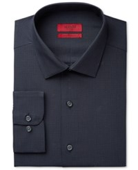 Alfani Men's Fitted Performance Black Micro Windowpane Check Dress Shirt Only At Macy's