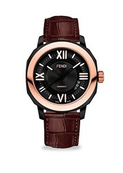 Fendi Selleria 18K Rose Goldplated And Leather Watch Black
