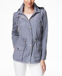 Charter Club Hooded Anorak Jacket Checkered Print Intrepid Blue