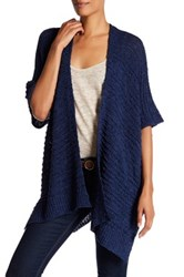 Cejon Woven Wearable Cardigan Like Shawl Blue