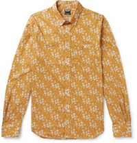 Todd Snyder Slim Fit Button Down Collar Printed Cotton Shirt Yellow