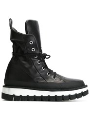 Premiata Ridged Sole Lace Up Boots Black