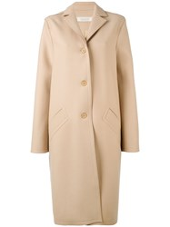Nina Ricci Button Up Trench Coat Women Silk Lambs Wool 38 Nude Neutrals