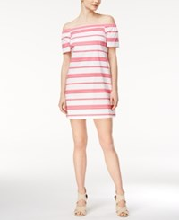 Maison Jules Striped Off The Shoulder Dress Only At Macy's Berry Sorbet Combo