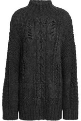 Current Elliott Woman Distressed Cable Knit Turtleneck Sweater Anthracite