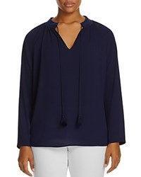Michael Michael Kors Plus Embroidered Peasant Blouse 100 Exclusive True Navy