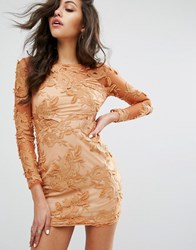 Prettylittlething Floral Mesh Long Sleeve Bodycon Dress Brown