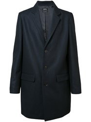 A.P.C. Single Breasted Coat Men Viscose Cashmere Wool Polyimide Xxl Blue