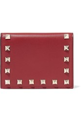 Valentino The Rockstud Leather Wallet Claret