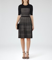 Reiss Alithia Womens Technique Knitted Dress In Black