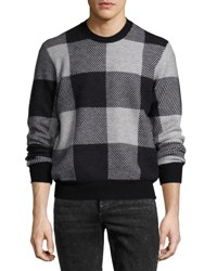 Rag And Bone Addison Gingham Jacquard Felted Wool Crewneck Sweater Light Gray Black Black Gray