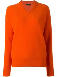Joseph V Neck Jumper Yellow Orange