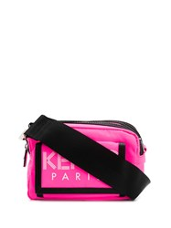 Kenzo Double Compartment Logo Print Messenger Bag Pink