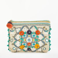 Star Mela Manila Embroidered Purse Ecru Multi