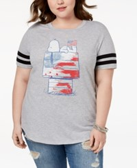 Hybrid Plus Size Snoopy Graphic T Shirt Charcoal