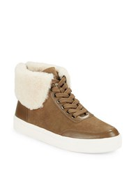 Via Spiga Maia Shearling Trimmed Sneakers Brown