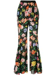 Alice Mccall Floral Picasso Flared Trousers Black