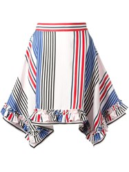 Msgm Pointy Striped Skirt White