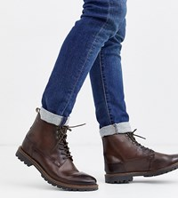 Base London Wide Fit Callahan Lace Up Boots In Dark Brown