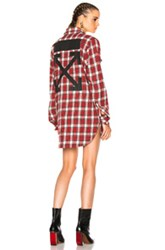 Off White Flannel Shirt In Red Checkered And Plaid Red Checkered And Plaid