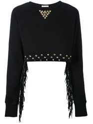 Each X Other Cropped Stud And Fringe Sweatshirt Women Cotton M Black