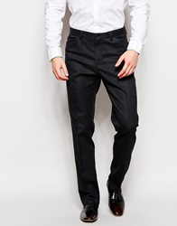 Asos Slim Suit Trousers In Textured Twill Charcoal