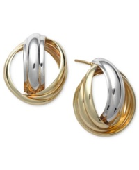 Macy's 14K Gold And White Gold Earrings Love Knot Stud