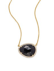 Argentovivo Cubic Zirconia Onyx And 18K Gold Plated Sterling Silver Pendant Necklace