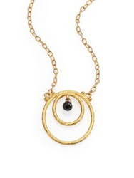 Gurhan Hoopla Black Diamond And 24K Yellow Gold Pendant Necklace