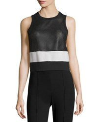 Rag And Bone Valerie Mesh Colorblock Tank Black White Black White