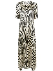 Laneus Zebra Print Flared Maxi Dress Neutrals