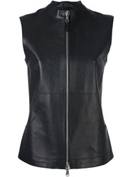 Eleventy Zip Up Lambskin Gilet Black