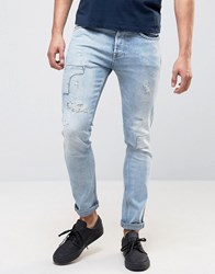 Pepe Jeans Archive Eddy Skinny Fit Jean Bleach Destroyed Wash Bleach Wash Blue