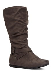 Evans Extra Wide Suedette Slouch Boot Grey