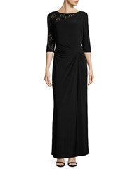 Ellen Tracy Lace Accented Gown Black