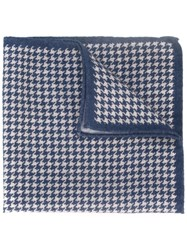 Eleventy Houndstooth Pocket Square Blue