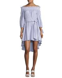 Caroline Constas Peasant Striped Off The Shoulder High Low Dress Blue White Blue Pattern