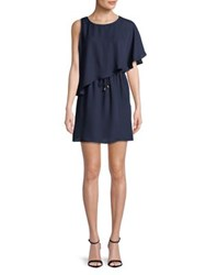 Molly Bracken Ruffled Popover Dress Navy Blue