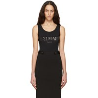 Balmain Black And Silver Knit Logo Bodysuit