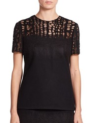 Jason Wu Wool Flannel And Lace Tee Black